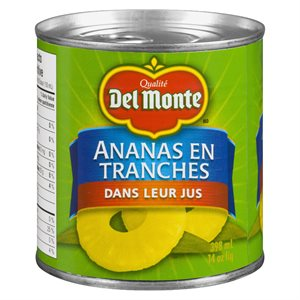 Ananas en tranches jus 398ml